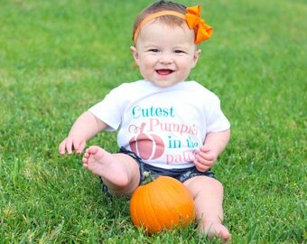 Cutest Pumpkin In The Patch Shirt - Pumpkin Baby Outfit - Baby Halloween Shirt - Fall Baby Outfit - Halloween Shirt - Baby Pumpkin Shirt