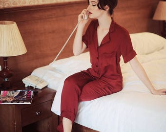 Luxury set of extra-smooth silk pyjama sleepwear homewear nightie gift for her