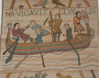 Vintage BELGIAN TAPESTRY featuring BAYEUX Saxon Ship from the Bayeux Tapestry - Cushion Size - Wall Hanging - Wall Décor.