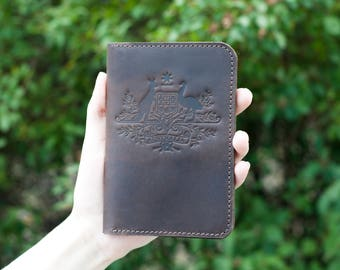 Personalized passport cover, leather passport cover, Australia logo,  Australia symbol, Australia coat, leather travel wallet, custom