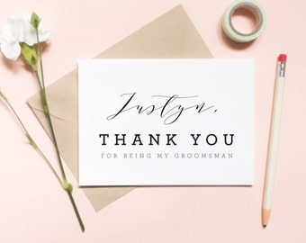thanks for being my groomsman card, wedding day card, thank you wedding card / SKU: LNTHANKS12