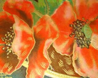 Vintage Vibrant Colored Flower Postcard (Poppies)