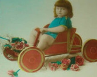 Vintage Hand Tinted RPPC (Little Girl In A Pedal Car)