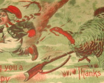 Funny Vintage Thanksgiving Postcard (Turkey Chasing Child)