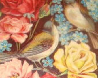 Beautiful Vintage Embossed Floral/Bird Postcard