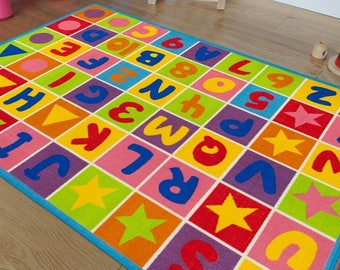 Handcraft Rugs, Kids Educational Rugs/Playtime Rug Letters And Numbers,  Non Slip