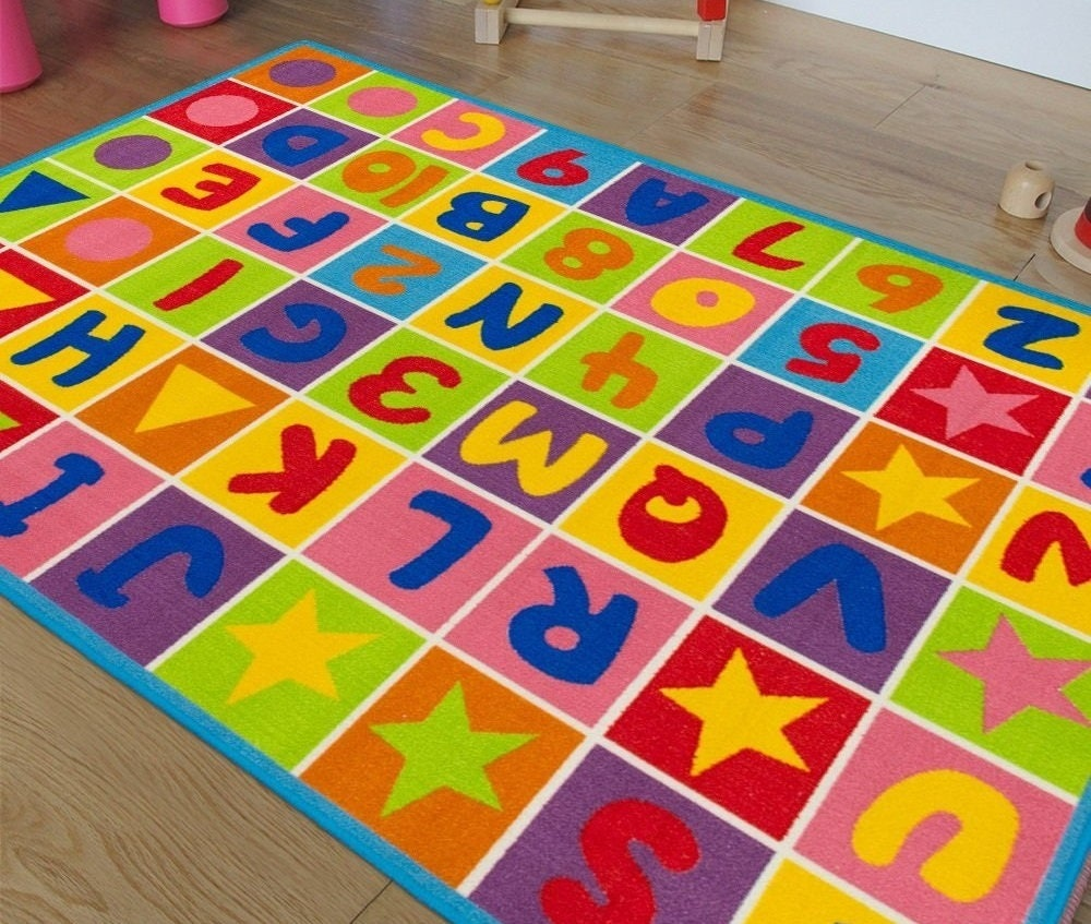 Learning Rug: Handcraft Rugs Kids Educational Rugs/Playtime Rug Letters And