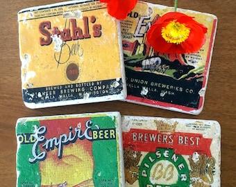 Beer Coasters, Vintage Beer Stone Coasters, set of 4