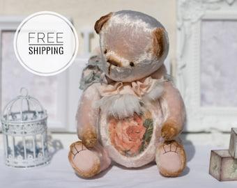 Artist teddy bear Pink bear teddy Gift for woman Push toy bear Collection bear Plush teddy bear ooak Pink toy Artist teddy Bear with flowers