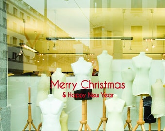 Christmas decorations shop window sticker