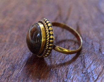 45% off tiger stone ring, brass ring,tiger stone adjustable brass jewellery ring