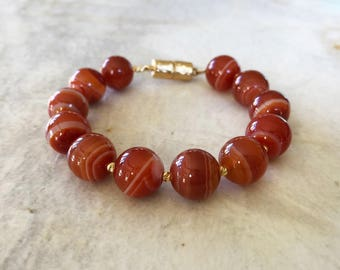 Sardonyx 12mm Beaded Bracelet with Magnetic Clasp