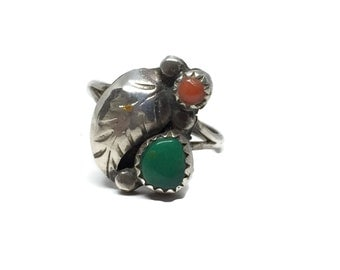 Vintage Turquoise and Coral Ring Native American Navajo Sterling Silver Size 5 3/4