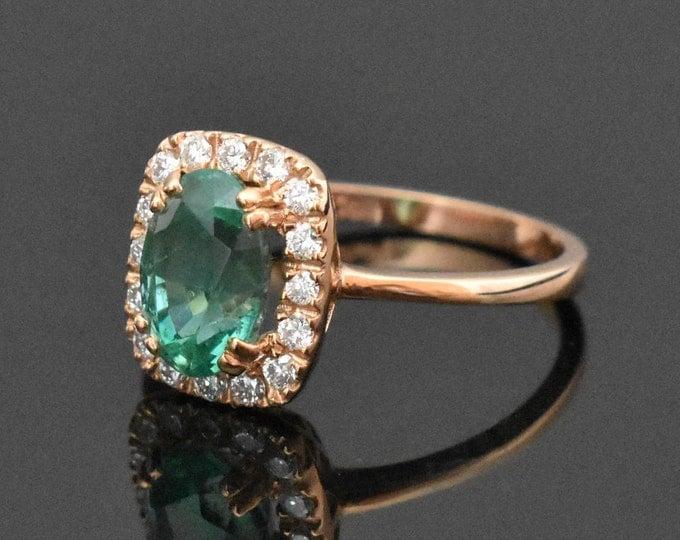 18K Rose Gold Emerald & Diamond Ring   Engagement Ring   Wedding Ring   Rose Gold Engagement Ring   Handmade Fine Jewelry   Diamond Halo