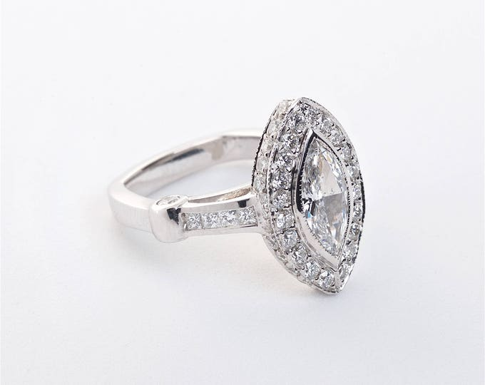 18K White Gold Marquise Diamond Ring   Engagement Ring   Wedding Ring   Statement Ring   Diamond Halo   Handmade Fine Jewelry   Unique Ring