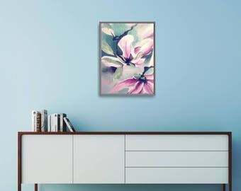 Pink And Blue Art Print, Xmas Wife Gift Art, Wife Gift Ideas For Christmas, Modern Flower Poster, Modern Painting Print, Large Flower Poster