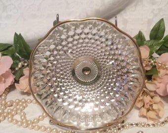 Hobnail Clear Glass, Footed Dish with Gold trim