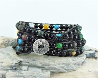 Black Wrap Bracelet, Leather Bracelet, Black Bracelet, Leather Wrap, Beaded Leather Bracelet, Bohemian Bracelet, Black Jewelry, Gift for Her