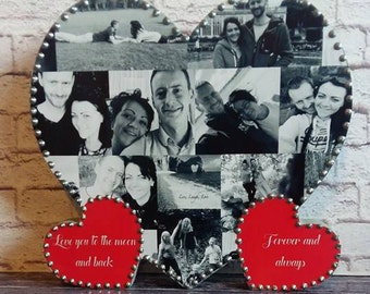 Personalised Solid Wood Photo Collage Heart Birthday, Anniversary, Wedding Gift Present