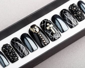 Cross and Skull Press on Nails with Swarovski crystals | Crucifixion | Fake Nails | False Nails | Glue On Nails