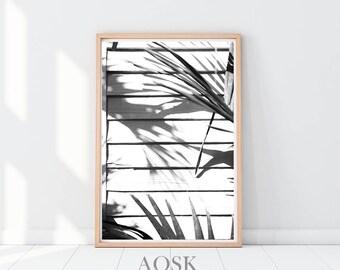 Printable Leaf Palm, Banana Leaf Art, Palm Leaf Poster, Palm Leaves Print, Black and White Leaves, Palm Leaf Wall Decor, Instant Download