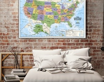 America Flag Wall Art Canvas Print USA Flag Wall Art Canvas - Large framed us map