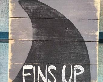 Shark week art, Fins Up Pallet Art, Shark art, Beach art, Coastal Decor, Marine wood art