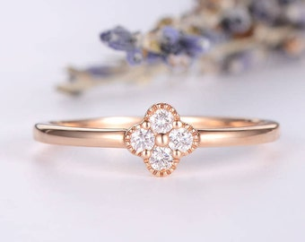 Diamond Cluster Ring Rose Gold Engagement Ring Clover Dainty Engraving Flower Floral Thin Dainty Anniversary Gift Promise Graduation Women