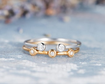 Diamond Ring Set Rose Gold Cuff Bezel Set Open Stacking Minimalist Women Anniversary Promise Adjustable Anniversary Yellow Gold Gift 2pcs