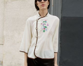 Vintage 50s Off White Chinese Embroidered Button Up Summer Blouse sz M / L