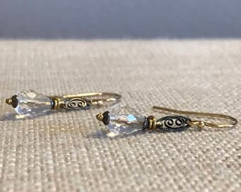 Rock Crystal Quartz and Filigree Earring