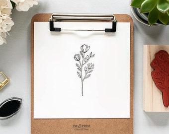 Wildflower Rubber Stamp - Floral Stamp - Flower Stamp - Wildflower Stamp - Flower Rubber Stamp - Hand Drawn