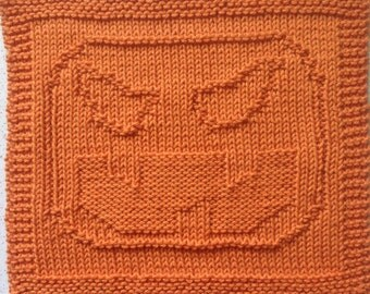 Sleepy Hollow Pumpkin Jack O'Lantern Knitting Dishcloth Washcloth Pattern