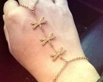 Slave Bracelet Gold Dragonfly Trio Hand Chain Slave Bracelet Gold Slave Bracelet Women's Hand Chain Women's Slave Bracelet