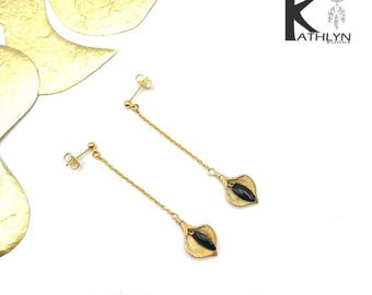 Black and gold Arum earrings