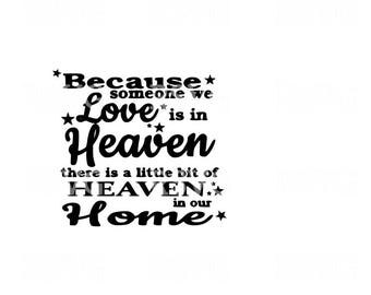 Because someone we love is in heaven, Heaven in our home- SVG cut file Heaven Svg Love Svg