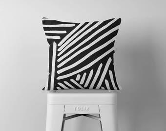 Black Striped Throw Pillow, Black and White Pillow, Decorative Pillows, Outdoor Pillow, Square Pillow, Pillows, Throw Pillows, Accent Pillow