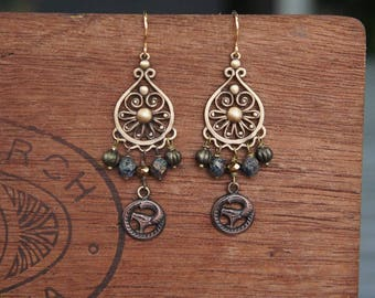 Filigree Chandelier Earrings with Fierce Hissing Snakes and Bronze Glass Beads French Brass Antique Vintage Style