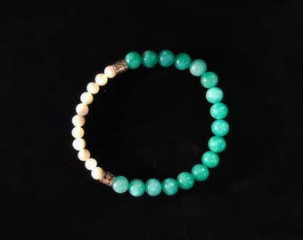 Amazonite and Moonstone Gemstone bracelet Luck Power Positivity Healing Healthy Strong Life Changing