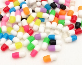 Pills Cabochons - Rainbow Colors (15 pcs by Random) Kawaii Cute Fake Mini Deco Resin Dollhouse Miniatures