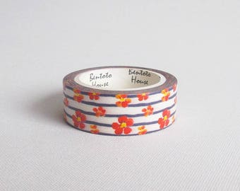 Red flowers washi tape, Striped washi tape, Floral washi tape, Cute washi tape, Washi paper tape, Flower washi tape, Washi masking tape
