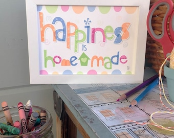 Happiness Is Homemade Hand-lettered Print