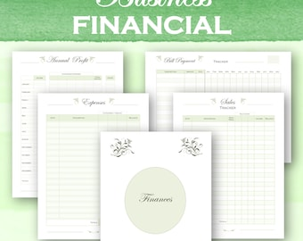 Small business financial planner, sales tracker, expense tracker, bill checklist, annual income, instant download letter size and a4 pdf