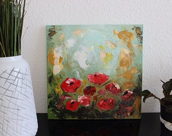 Oil Painting on Canvas - Poppy Flower Painting, Abstract Landscape Painting, Poppies, Flower Art, Contemporary Art