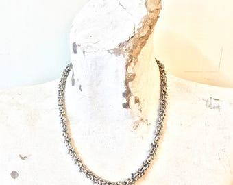 Vintage Sterling Silver Necklace | Statement Jewelry | Vintage Necklace | Thick Chain | Disk Necklace | Link Necklace | Vintage Jewelry