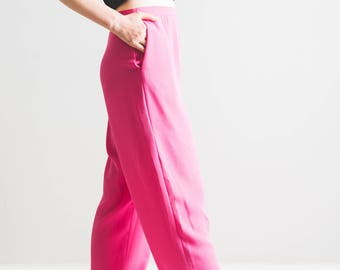 Hot pink high waisted trousers // 90's fashion // cute and sassy // uk 10-12