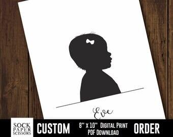 Custom Silhouette Printable Print, Nursery Silhouette, Kids Name Sign, Child room decor, Cameo Print, PDF Digital Download, Sku-CNA115