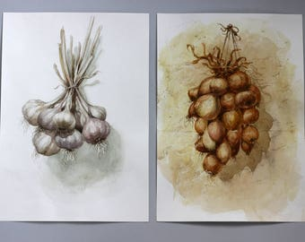 Set of 2 Kitchen decor Original watercolor painting, Garlic and Onion watercolor art, Gift for home, Botanical decoration, gift for her