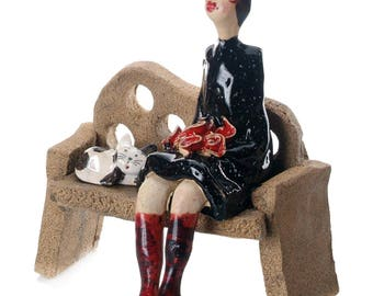 Vintage Lady | Red Roses | Unusual and Quirky Gift For a Cat Lover