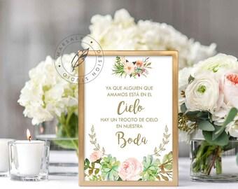 Printable Wedding Signs, Memorial Sign, In Loving Memory Sign, Printable Wedding Decor, Spanish, Instant Download, Digital Printable File